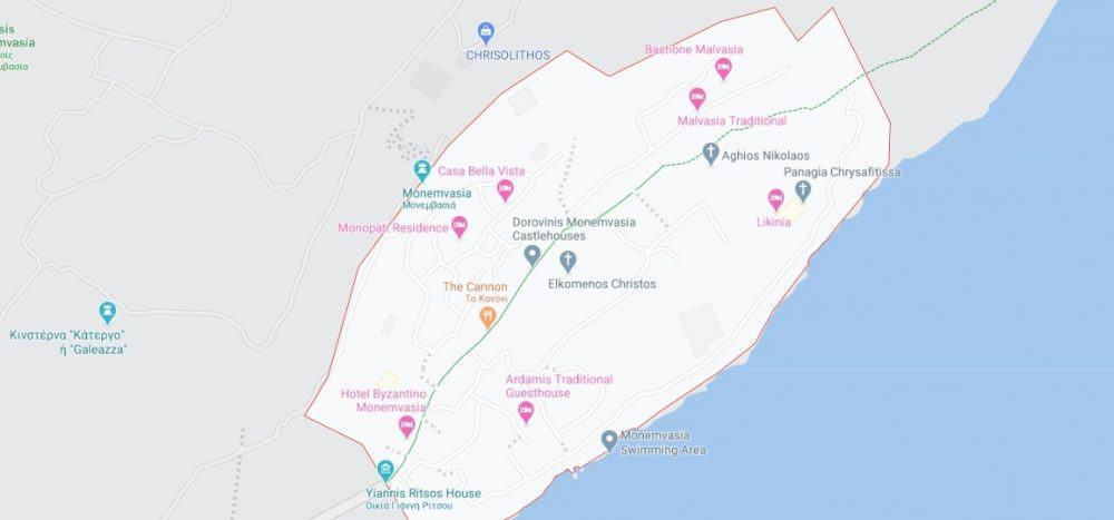 Map - where to find Monemvasia Fortress