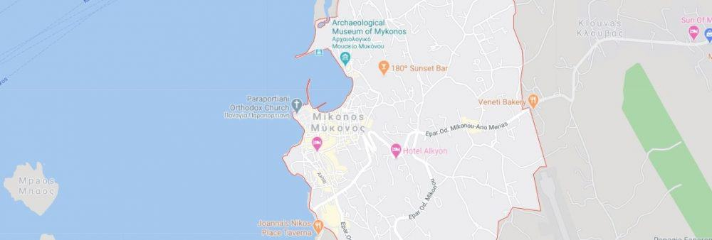 Map - where to find Mykonos in Greece