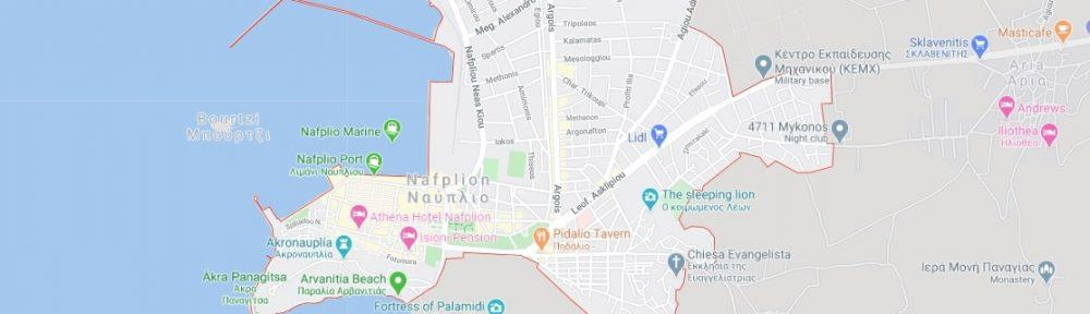 Map - where to find Nafplio in Greece