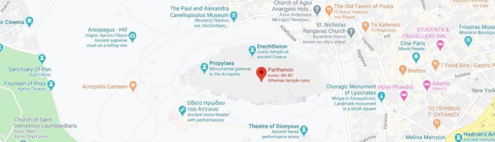 Map - where to find Parthenon Acropolis