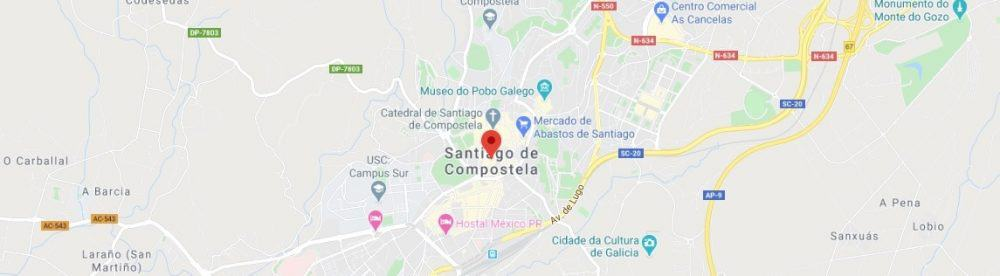 Map - where to find Santiago de Compostela Spain