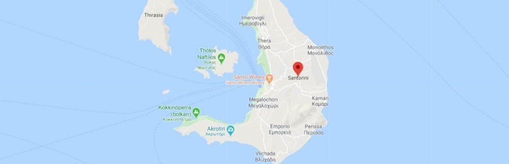 Map - where to find Santorini in Greece