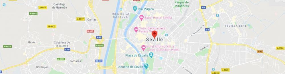Map - where to find Seville in Spain