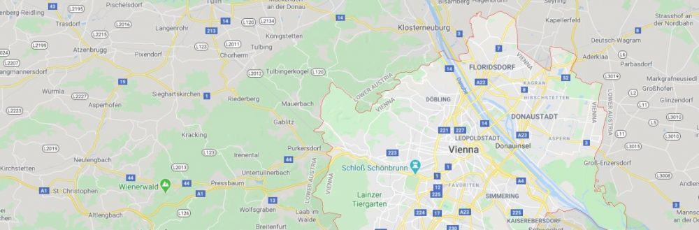 Map - where to find Vienna