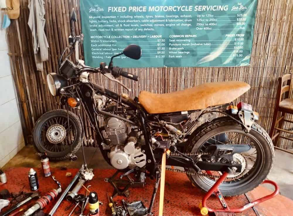 Motorcycle servicing Joe Bar-Garage and Grill Siem Reap