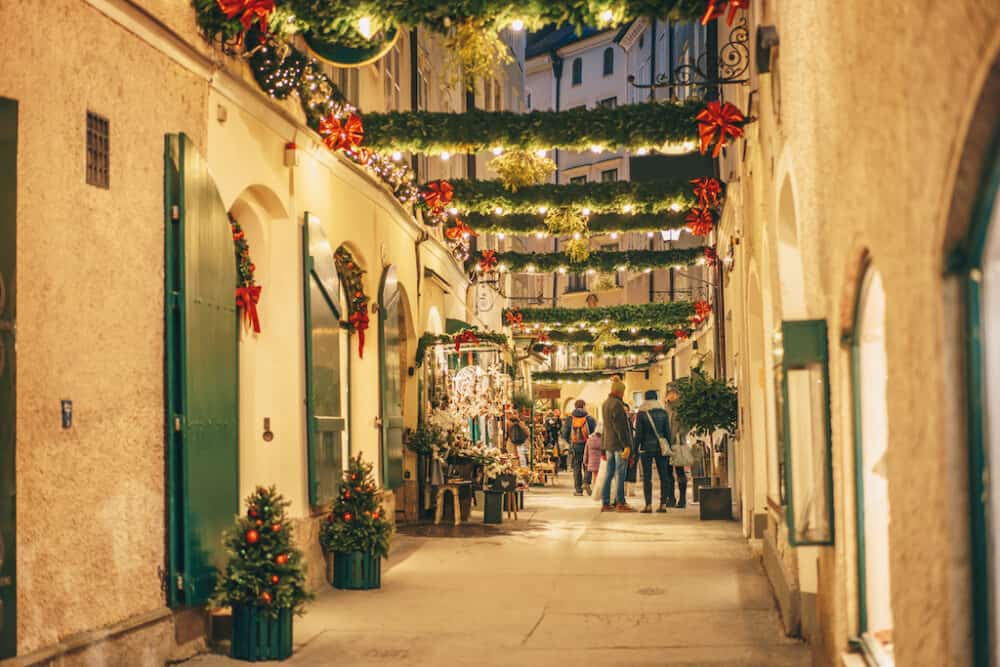 Pretty street on Salzburg Austria