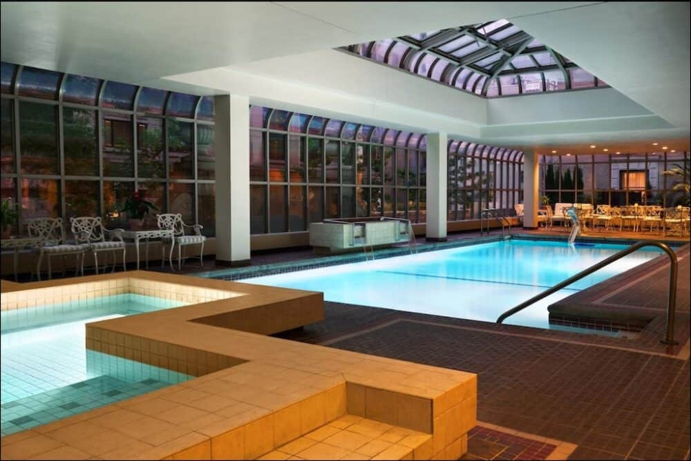 Chic hotel swimming pool in Seattle