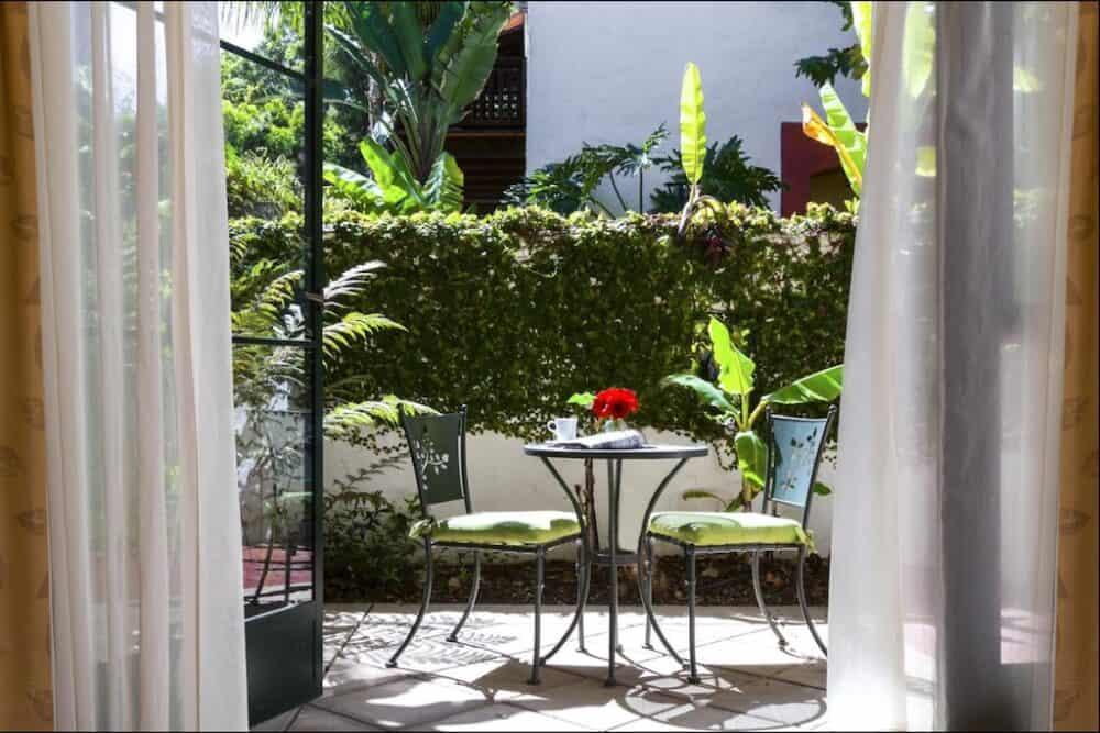 Romantic hotel patio in California