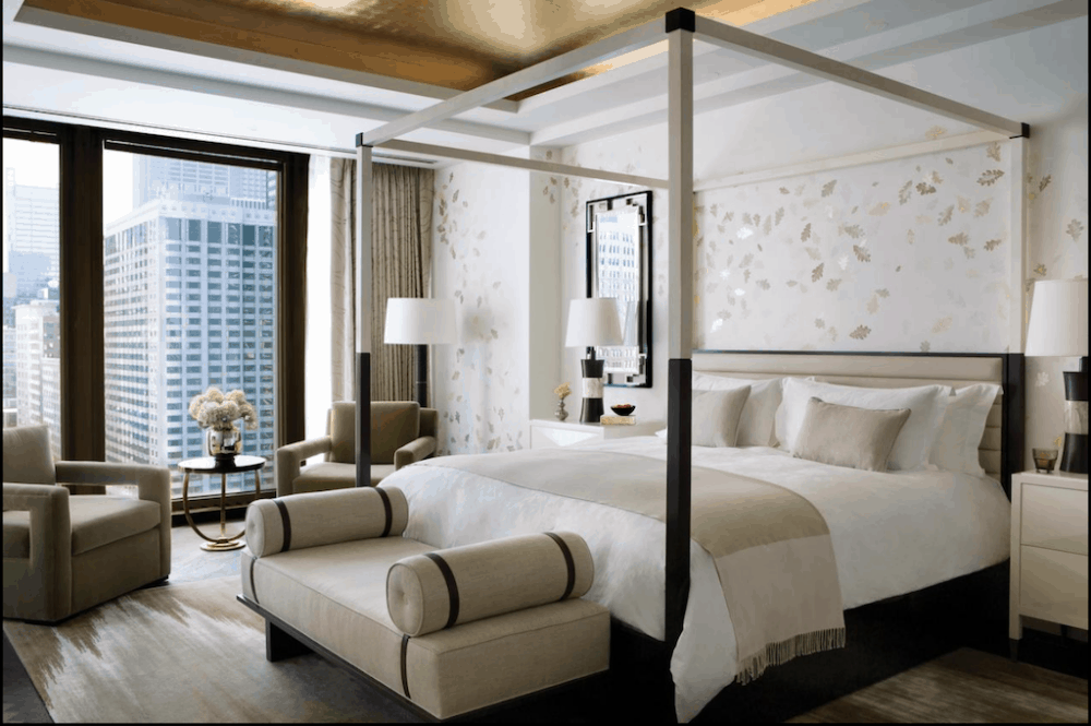 The Langham Hotel Chicago with a romantic four poster bed