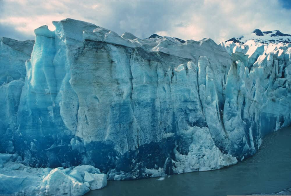 The face of the Mendenhall Glacier in Alaska