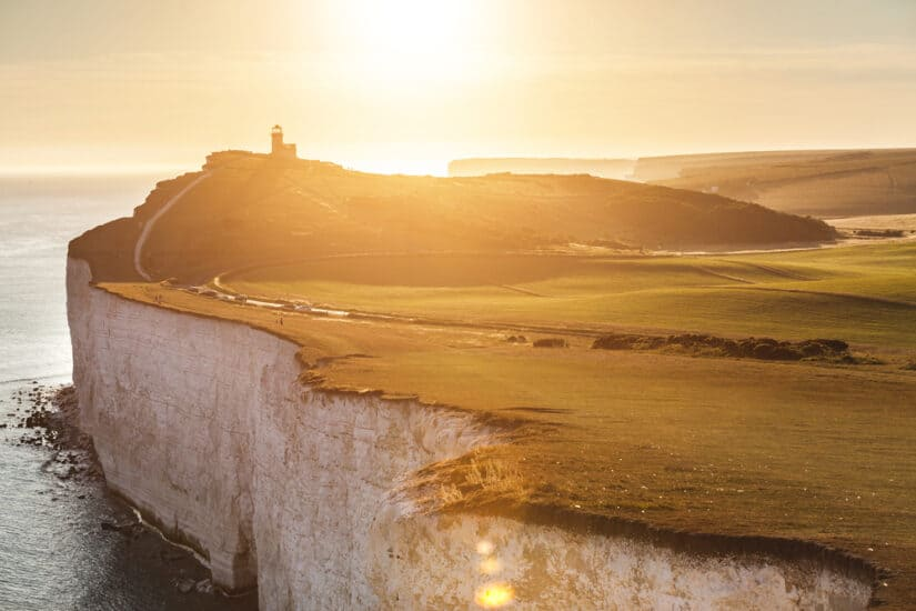 Panoramic view of Seven Sisters cliffs at sunset East Sussex