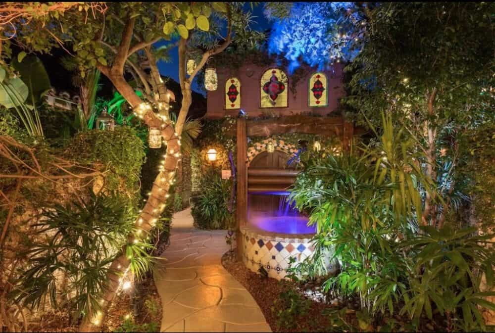 Romantic hotel garden Palm Springs