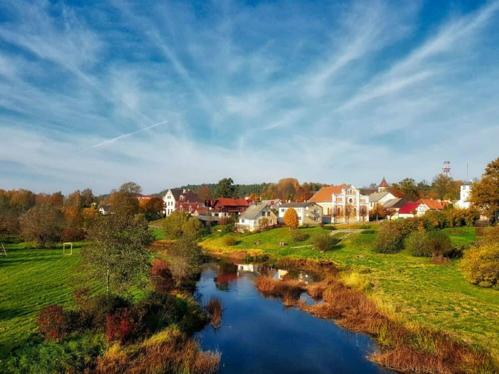 Sabile town and Abava river Latvia
